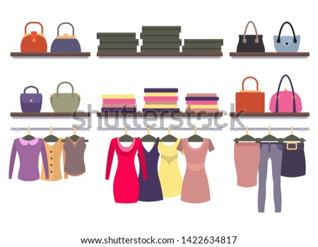 Womens clothing store shop window with clothes hanging on hangers racks bags and packages raster illustration of dress blouses t-shirts
