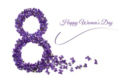 Womens day card. 8 march greeting card. Number eight shape violet flowers isolated on white background