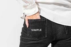 Womens denim pants in closeup back shot
