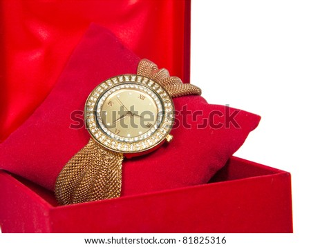Womens Golden Watch In Red Box