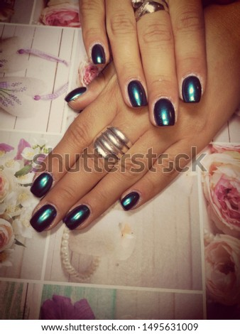 Womens hands with beautiful nails #1495631009