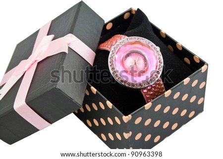Womens Pink Watch In A Bow Box