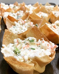 Won Ton Wrappers Baked with Crab Filling