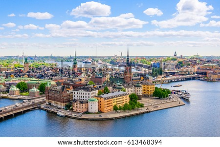 Wonderful aerial panorama from height of bird's flight on observation deck on tower City Hall to Gamla Stan (Old Town), Stockholm, Sweden