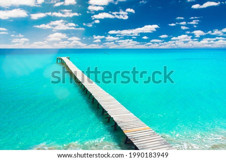 wonderful aerial view of the pier of playa de muro at the beach of Alcudia, Mallorca, Spain Foto d'archivio ©