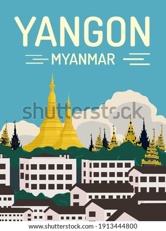 wonderful and beautiful shwedagon pagoda in yangon, myanmar illustration best for travel poster with vintage retro style Сток-фото ©