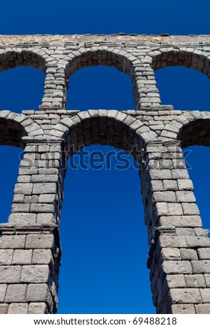 Wonderful aqueduct of Roman epoch, placed at Segovia's city