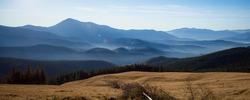 Wonderful Carpathian mountain landscape on panoramic view