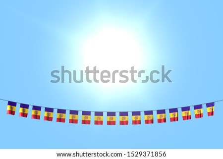 wonderful celebration flag 3d illustration - many Andorra flags or banners hangs on rope on blue sky background