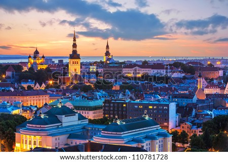 Wonderful evening scenic summer panorama of Tallinn, Estonia