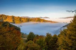 wonderful foggy autum landscapes in Salciua, Romania