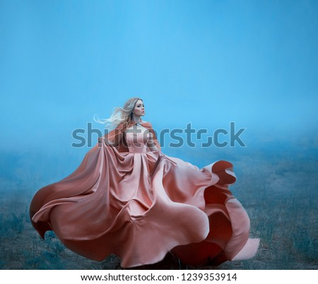wonderful girl with blond blonde white hair and amazing soft features while running, dressed in a delightful long peach dress, flying and fluttering, the princess flees to a forest full of thick fog