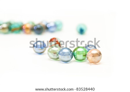 Wonderful glass balls on a white background