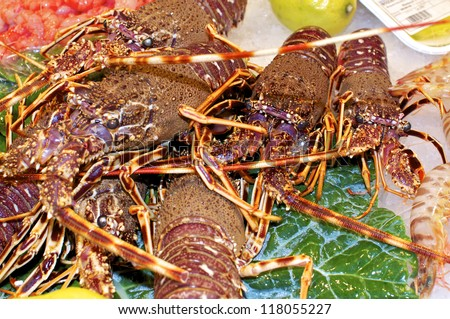 Wonderful great crabs, shrimps and lobster at the market La Boqueria in Barcelona. An indoor market for goods of all kinds