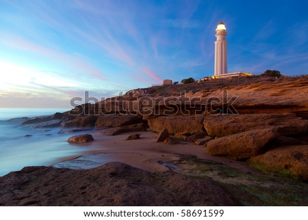 Wonderful lighthouse known as Trafalgar's lighthouse at the province of Cadiz