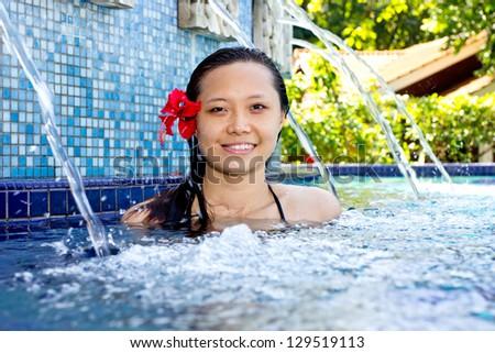 Wonderful Malaysia girl in spa pool on the long weeken