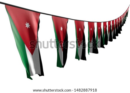wonderful many Jordan flags or banners hanging diagonal with perspective view on rope isolated on white - any feast flag 3d illustration