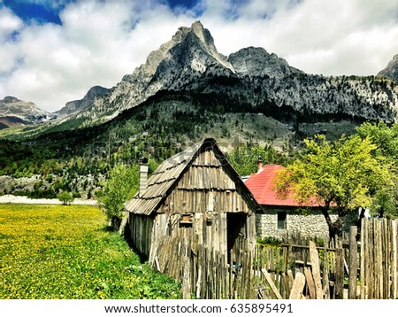 Wonderful Mountain landscape in Valbona Albania #635895491