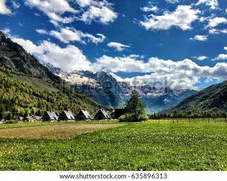 Wonderful Mountain landscape in Valbona Albania #635896313