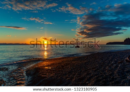 Wonderful nature in Vancouver island -  Amazing sunset in late winter time 2, Sandcut beach, Saooke Cnada.