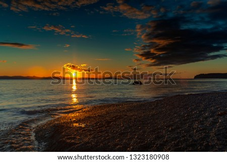 Wonderful nature in Vancouver island -  Amazing sunset in late winter time 3, Sandcut beach, Saooke Cnada.
