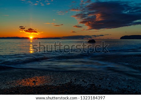 Wonderful nature in Vancouver island -  Amazing sunset long exposure view in late winter time 6, Sandcut beach, Saooke Cnada.