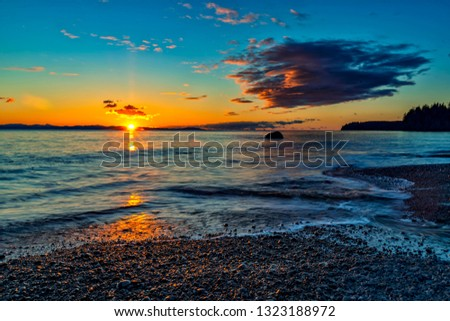 Wonderful nature in Vancouver island -  Amazing sunset long exposure view in late winter time 3, Sandcut beach, Saooke Cnada.