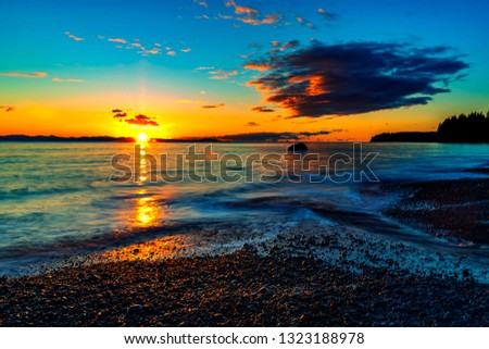 Wonderful nature in Vancouver island -  Amazing sunset long exposure view  in late winter time 2, Sandcut beach, Saooke Cnada.