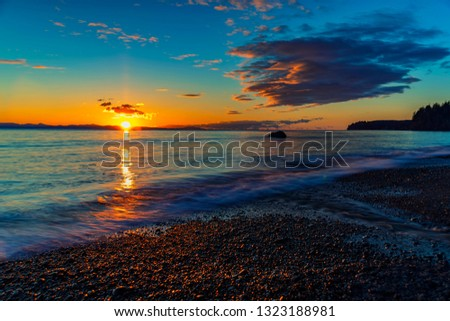 Wonderful nature in Vancouver island -  Amazing sunset long exposure view in late winter time 1, Sandcut beach, Saooke Cnada.