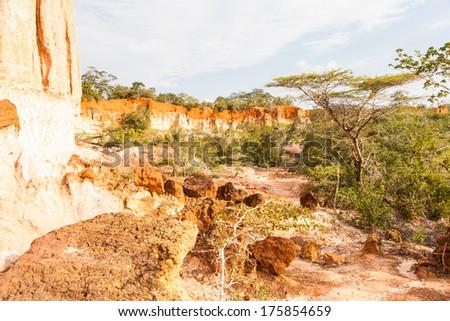 Wonderful orange colors at sunset in Marafa Canyon - also said The Hell\'s Kitchen. Malindi region, Kenya