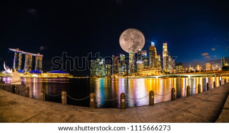Wonderful Panoramic View of Singapore City at Night with Full Moon