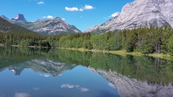 wonderful reflection from the mountain in the lake in canada