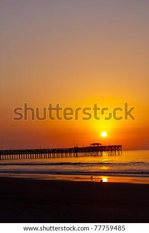 wonderful shot of the sun rising over a pier at an ocean beach