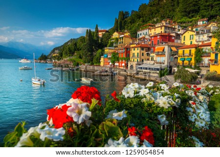 Wonderful summer holiday resort, colorful mediterranean buildings and luxury villas with fantastic harbor, Varenna, lake Como, Lombardy, Italy, Europe