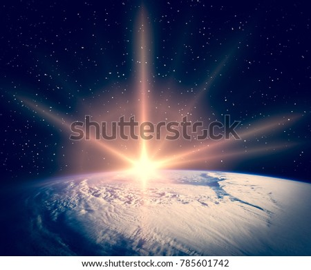 Wonderful sunlight above earth. The elements of this image furnished by NASA.