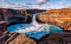 Wonderful Sunny landscape of Iceland. The breathtaking landscape of Aldeyjarfoss waterfall in North-Iceland. Icelandic summer scenery. Amazing nature in Iceland, Awesome tourist attraction