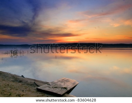 Wonderful sunrise over river in Russia