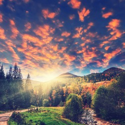 wonderful sunrise over the autumn mountains. majestic landscape. picturesque dramatic scene. artistic creative picture. instagram effect fairytale view in the autumn.