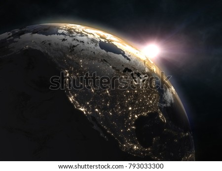 Wonderful sunrise over the Earth - North America. Elements of this image furnished by NASA. 3d illustration