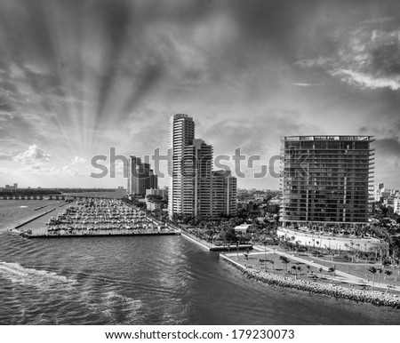Wonderful sunset above the city of Miami, Florida. Black and white processed #179230073