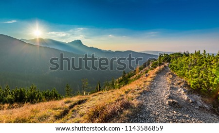 Wonderful sunset in Tatra mountains in autumn, Poland #1143586859