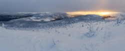 Wonderful sunset over Chic-chocs mountains, Gaspesie, Quebec, Canada