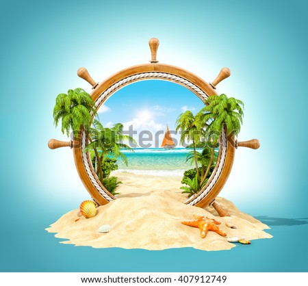 Wonderful tropical landscape with palms and beach in wooden helm. Unusual 3D illustration