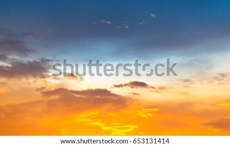 Wonderful twilight sky with blue and orange color #653131414