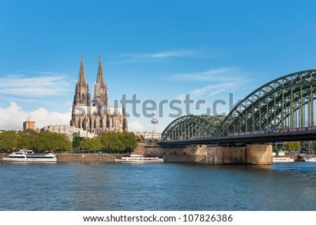 Wonderful view of Cologne over the Rhein river. GPS information is in the file