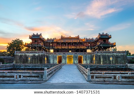 "Wonderful view of the "" Meridian Gate Hue "" to the Imperial City with the Purple Forbidden City within the Citadel in Hue, Vietnam. Imperial Royal Palace of Nguyen dynasty in Hue. Hue is a popular"