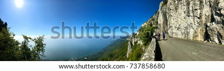 Wonderful view of Trieste 's landscape in Italy where the sea meets the mountains in a unique way. #737858680