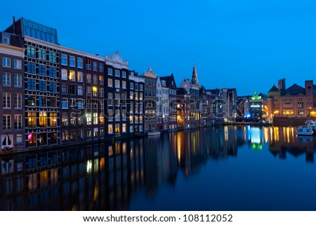 Wonderful view on  houses of Amsterdam in night. GPS information is in the file.