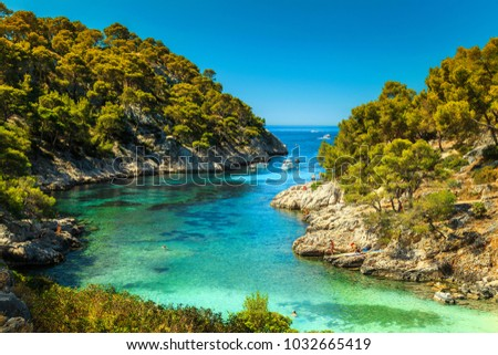 Wonderful viewpoint from the forest, Calanques De Port Pin bay, Calanques National Park near Cassis fishing village, Provence, South France, Europe Photo stock ©