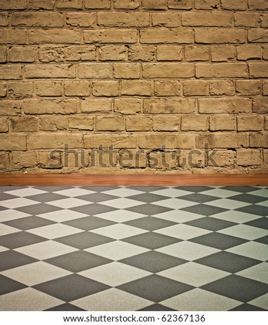 wonderful vintage interior with  black and white chess floor - artistic shadows added